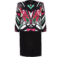 Black abstract print longline boxy jacket