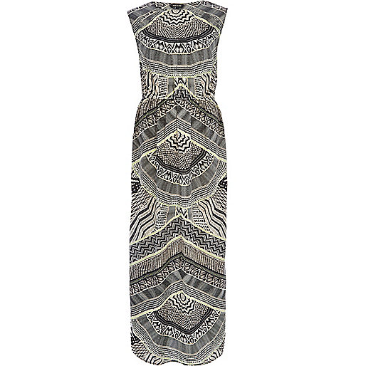 Black abstract print split side maxi dress