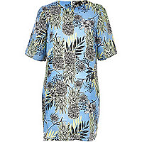 Blue pineapple print t-shirt dress