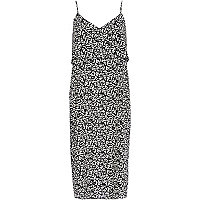 Black and white double layer slip dress