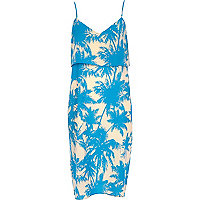 Blue palm tree print double layer slip dress