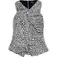 Black and white zig zag stripe wrap top