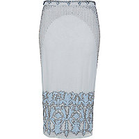 Light blue embellished midi skirt