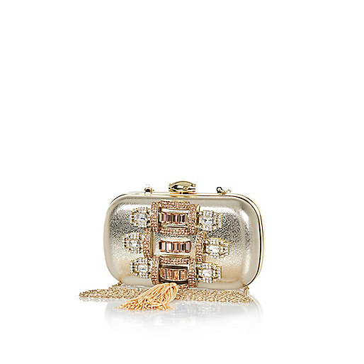 Gold embellished tassel box clutch bag