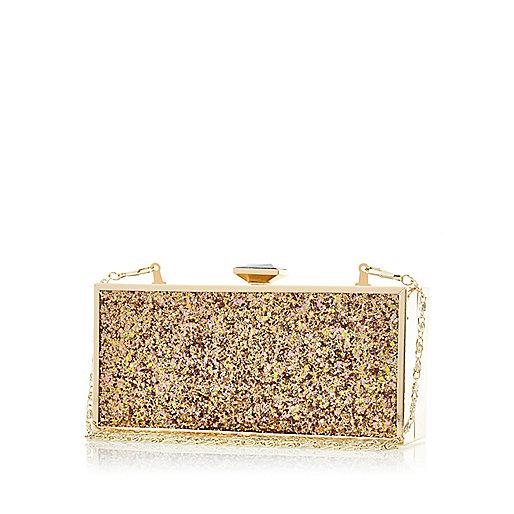 Gold glittery box clutch bag