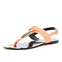 Coral metal trim T bar sandals