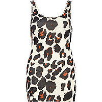 Cream animal print scoop neck vest