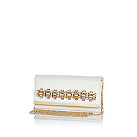 White jewelled cross body purse