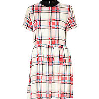 Pink tartan contrast collar skater dress