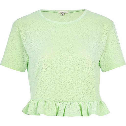 Green floral jacquard frill trim crop top