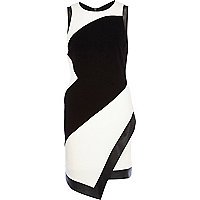 Black and white mesh panel wrap bodycon dress
