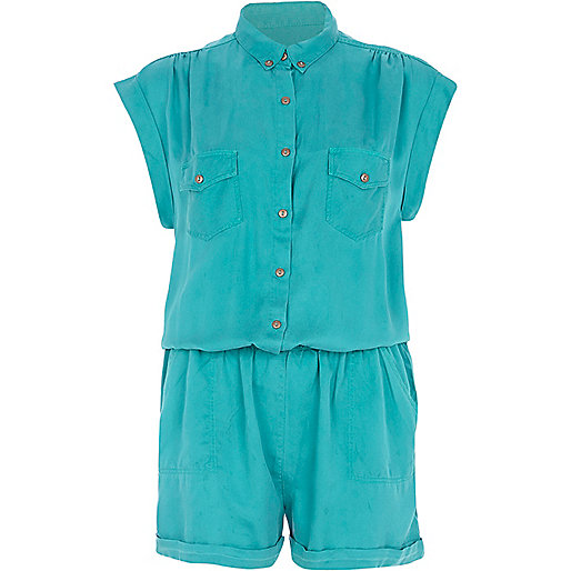 Green roll sleeve shirt playsuit