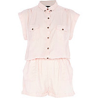 Light pink roll sleeve shirt playsuit