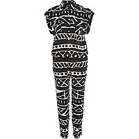 Black and white tribal print shirt jumpsuit