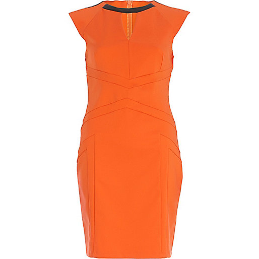 Orange panelled pencil dress