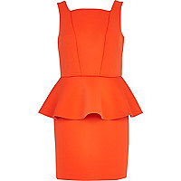 Orange scuba peplum pencil dress