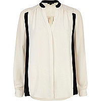 Cream colour block jacquard blouse