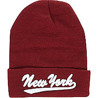 Dark red New York beanie hat