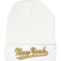 White New York embroidered beanie hat