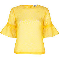 Yellow burnout flute sleeve top