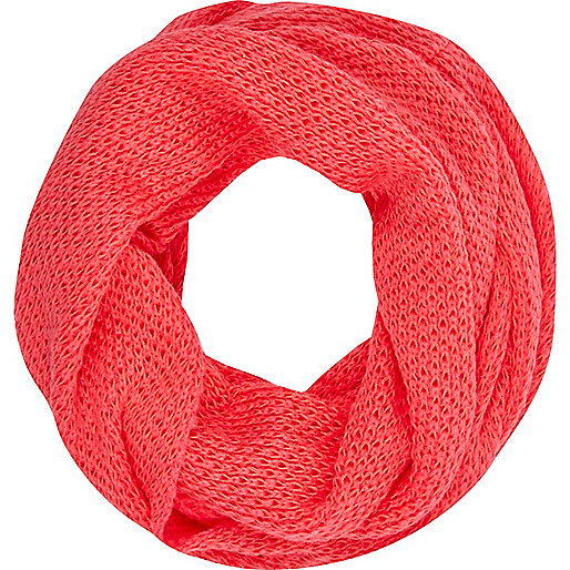 Coral waffle knit snood