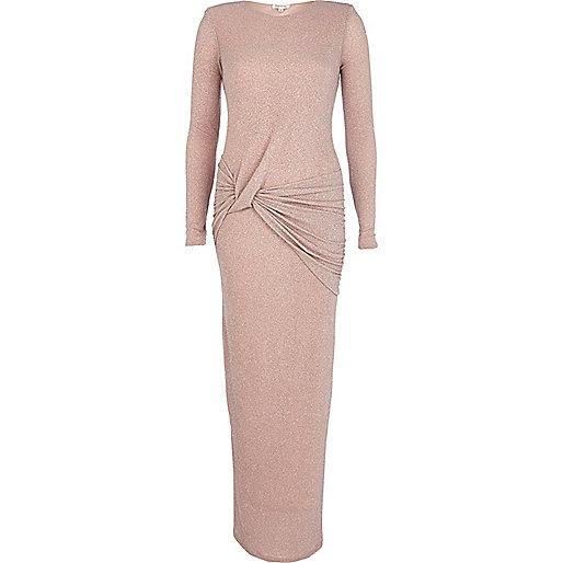 Pink glittery twist front maxi dress