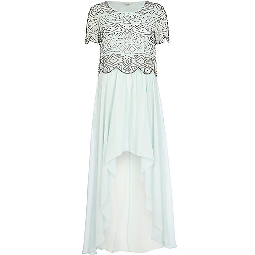 Light green embellished top maxi dress