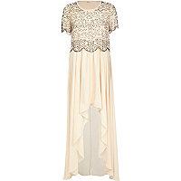 Light pink embellished top maxi dress