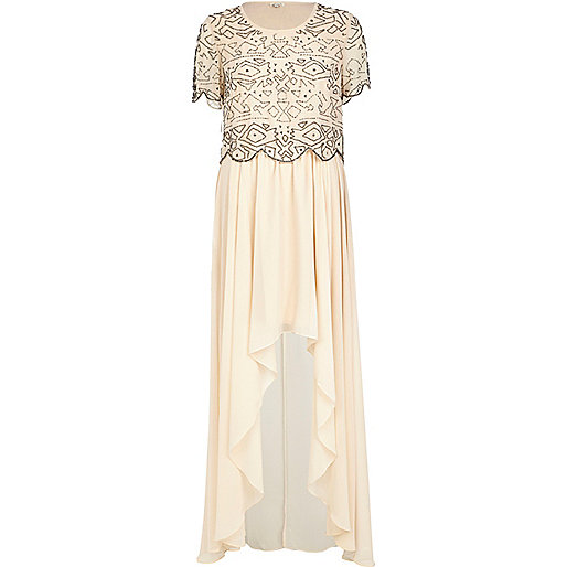 Light pink embellished top maxi dress