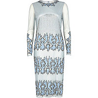 Light blue embellished bodycon dress