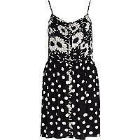 Black daisy and spot print cami dress