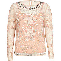 Light pink embellished mesh top