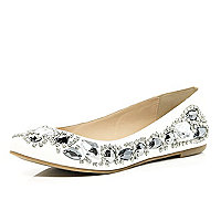 White gem stone ballet pumps
