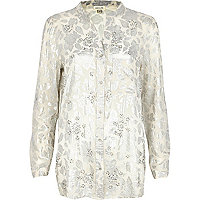 Cream metallic floral print shirt