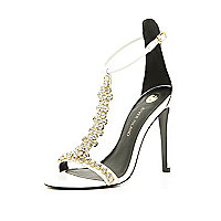 White embellished T bar barely there sandals