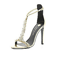Gold embellished T bar barely there sandals