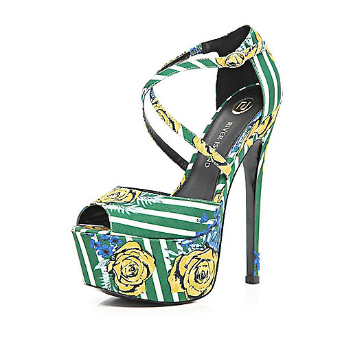 Green floral striped peep toe platforms