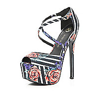 Black striped rose print peep toe platforms