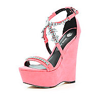 Bright pink embellished wedge sandals