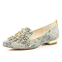 Grey snake embellished slipper shoes