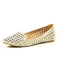 Beige cut out embellished slipper shoes
