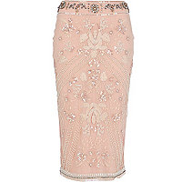 Light pink embellished pencil skirt