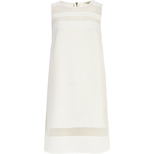 White sheer panelled shift dress