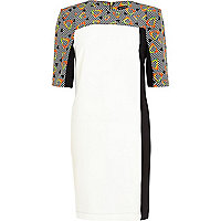 Black digital print colour block shift dress