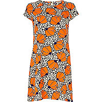 Orange polka dot floral print swing dress