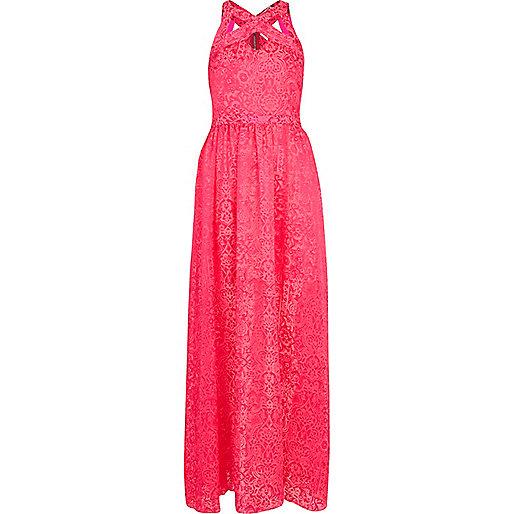 Pink floral burnout cut out maxi dress
