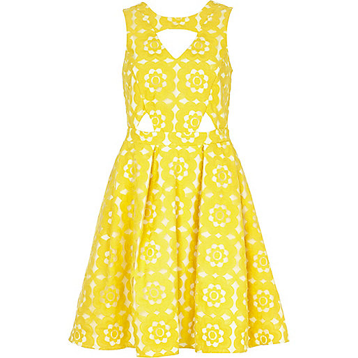 Yellow embroidered cut out prom dress