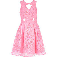 Pink burnout print cut out prom dress