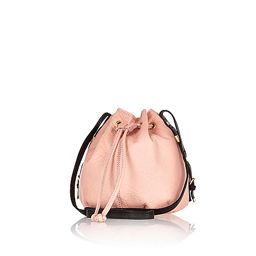 Light pink leather duffle bag