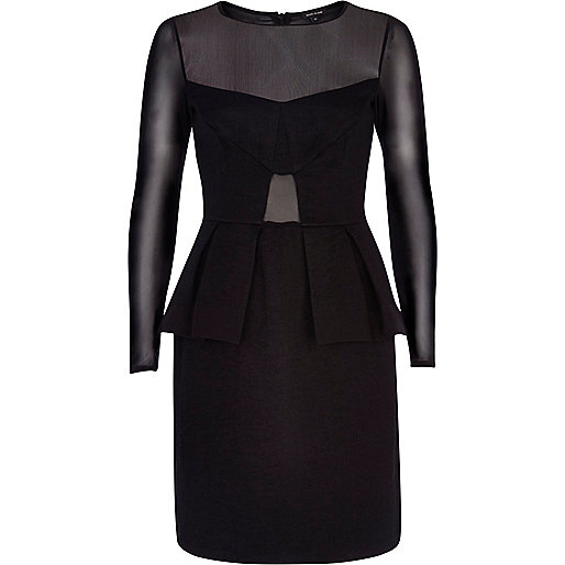 Black sheer panel peplum dress